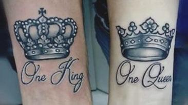 Król i królowa, tatuaże z koronami dla niego i dla niej