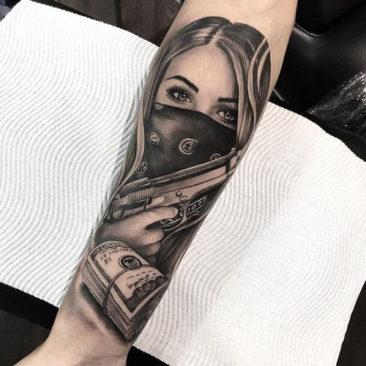Tatuaż twarzy kobiety